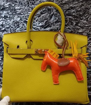 Hermes Birkin 30CM Tote Bags Litchi Leather H30LI Lemon