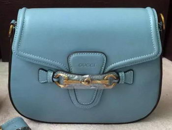 Gucci Lady Web Hand-Stained Leather Shoulder Bag 380573 SkyBlue