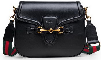 Gucci Lady Web Calfskin Leather Shoulder Bags 383848 Black