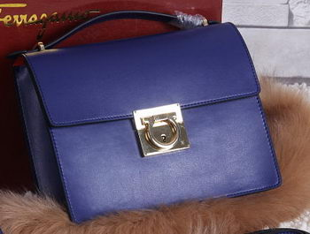Ferragamo Calfskin Leather Medium Shoulder Bag SF0614 Royal