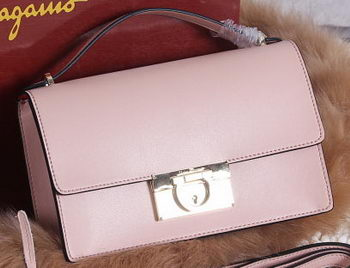 Ferragamo Calfskin Leather Medium Shoulder Bag SF099 Pink
