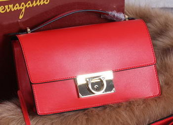 Ferragamo Calfskin Leather Medium Shoulder Bag SF099 Red