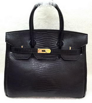Hermes Birkin 30CM Tote Bags Lizard Leather H30LI Black