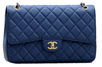 Chanel Jumbo Quilted Classic Flap Bag Blue Cannage Patterns A58600 Gold