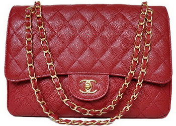 Chanel Jumbo Quilted Classic Flap Bag Burgundy Cannage Patterns A58600 Gold