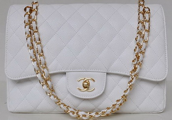 Chanel Jumbo Quilted Classic Flap Bag White Cannage Patterns A58600 Gold