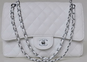 Chanel Jumbo Quilted Classic Flap Bag White Cannage Patterns A58600 Silver
