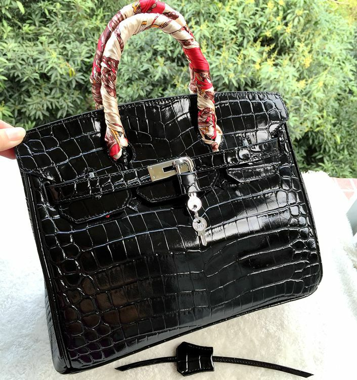 Hermes Birkin 30CM Tote Bags Black Iridescent Croco Leather Gold