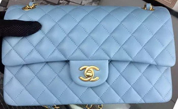 Chanel 2.55 Series Flap Bag SkyBlue Sheepskin Leather A06375 Gold
