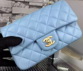 Chanel Classic mini Flap Bag SkyBlue Sheepskin Leather A67350 Gold