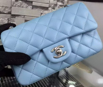 Chanel Classic mini Flap Bag SkyBlue Sheepskin Leather A67350 Silver