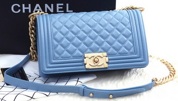 Boy Chanel Flap Shoulder Bag SkyBlue Sheepskin Leather A67086 Gold