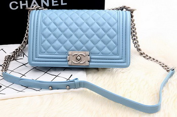 Boy Chanel Flap Shoulder Bag SkyBlue Sheepskin Leather A67086 Silver