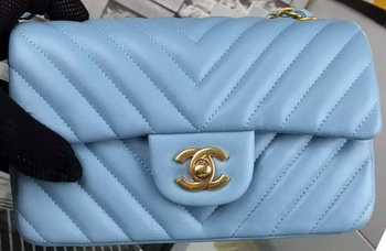 Chanel mini Classic Flap Bag SkyBlue Original Sheepskin Chevron Leather CHA5500 Gold