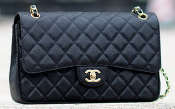 Chanel Jumbo Classic Black Cannage Pattern Flap Bag A58600 Gold