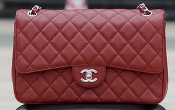 Chanel Jumbo Classic Burgundy Cannage Pattern Flap Bag A58600 Silver
