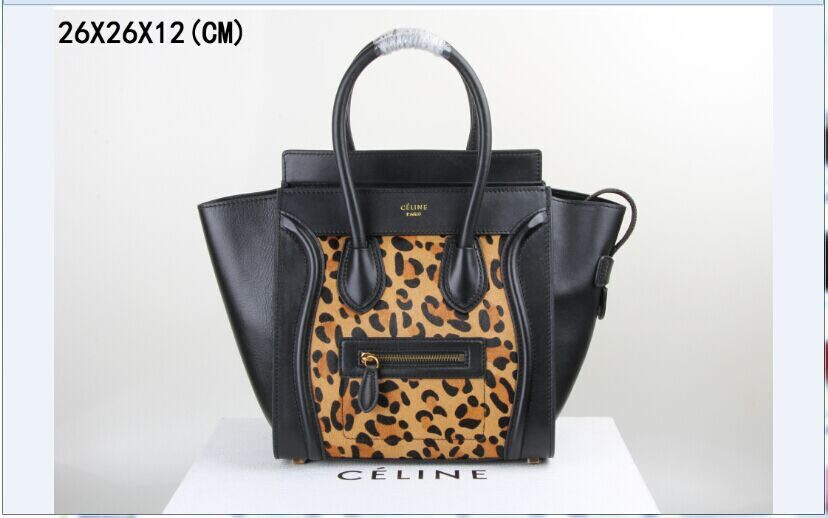 Celine Luggage Micro Tote Bag Leopard C3308 Black