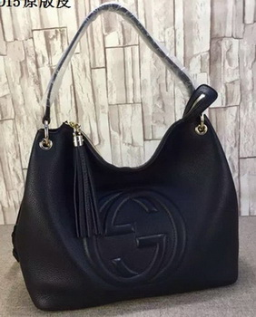 Gucci Soho Leather Hobo Bag Calfskin Leather 408825 Black