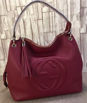 Gucci Soho Leather Hobo Bag Calfskin Leather 408825 Burgundy