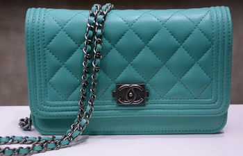 Boy Chanel mini Flap Bags Sheepskin Leather A33815 SkyBlue