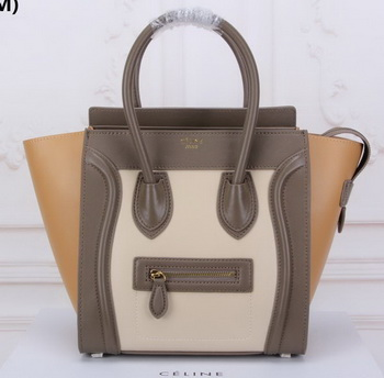 Celine Luggage Micro Tote Bag Original Leather CLY33081M OFFWHITE&Khaki&Apricot