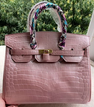 Hermes Birkin 30CM Tote Bags Pink Croco Leather BK30 Gold