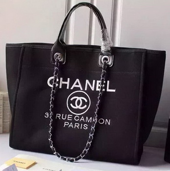 Chanel Large Canvas Tote Shopping Bag A5002 Black