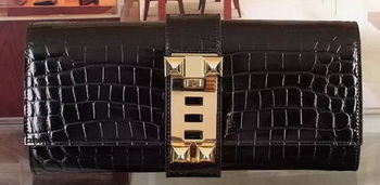 Hermes Croco Leather Clutch H88017 Black