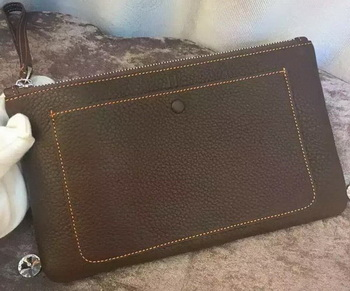 Hermes Grainy Leather Clutch H88016 Brown