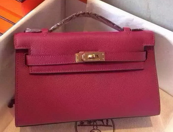 Hermes MINI Kelly 22cm Tote Bag Calfskin Leather K22 Peach