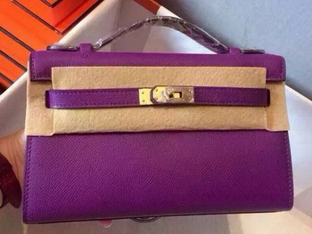 Hermes MINI Kelly 22cm Tote Bag Calfskin Leather K22 Purple
