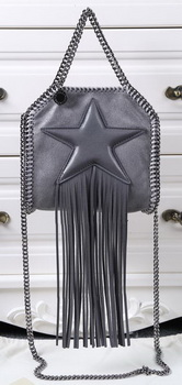 Stella McCartney Falabella Fringed Star Mini Tote Bag SM8855 Dark Grey