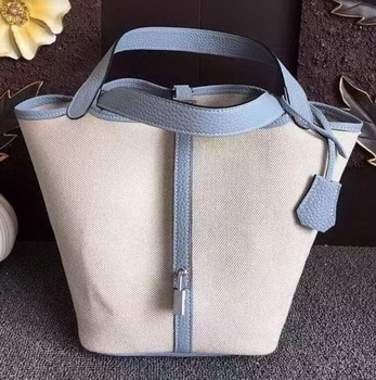 Hermes Picotin Lock 18cm Bag Canvas HPL8618T SkyBlue