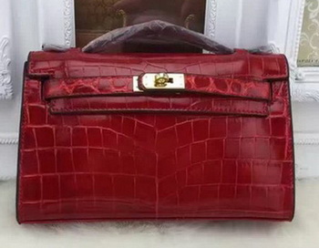 Hermes MINI Kelly 22cm Tote Bag Croco Leather KL22 Burgundy