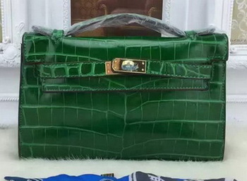 Hermes MINI Kelly 22cm Tote Bag Croco Leather KL22 Green