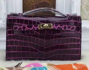 Hermes MINI Kelly 22cm Tote Bag Croco Leather KL22 Purple