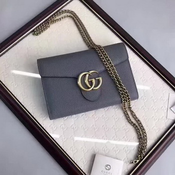 Gucci GG Marmont Leather mini Chain Bag 401232 Grey