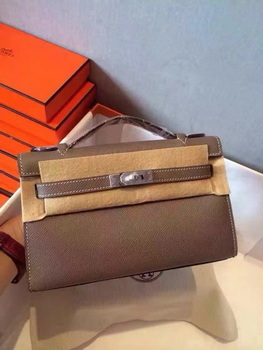 Hermes Kelly 22cm Tote Bag Original Leather KL22 Grey
