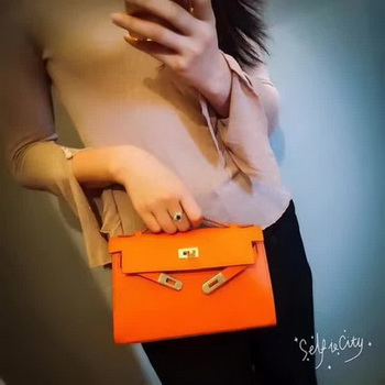 Hermes Kelly 22cm Tote Bag Original Leather KL22 Orange