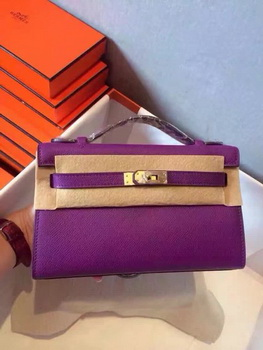 Hermes Kelly 22cm Tote Bag Original Leather KL22 Purple