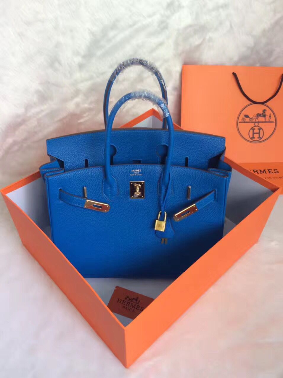 Hermes Birkin 30CM Tote Bag Blue Original Leather HB30 Glod