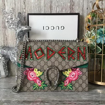 Gucci Dionysus Embroidered Shoulder Bag 400249 Green Suede