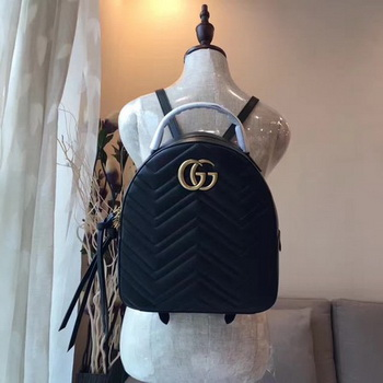 Gucci GG Marmont Quilted Leather Backpack 476671 Black