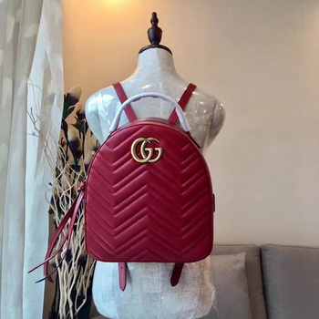 Gucci GG Marmont Quilted Leather Backpack 476671 Red