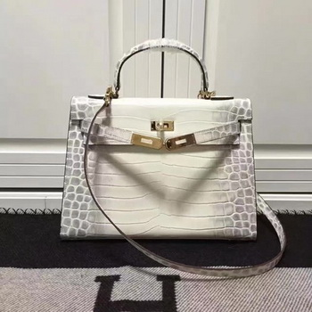 Hermes Kelly 28cm Shoulder Bag Croco Leather K28 OffWhite