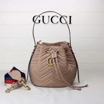 Gucci GG Marmont Quilted Leather Bucket Bag 476674 Apricot