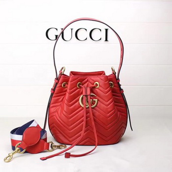 Gucci GG Marmont Quilted Leather Bucket Bag 476674 Red