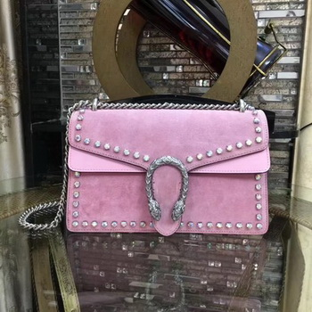 Gucci Dionysus Suede Shoulder Bag with Crystals 400249 Pink