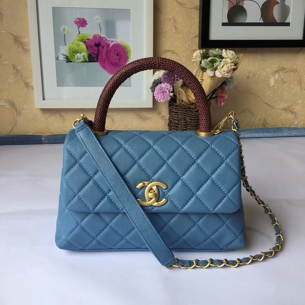 Chanel Tote Bag Skyblue Original Calfskin Leather 92990 Glod