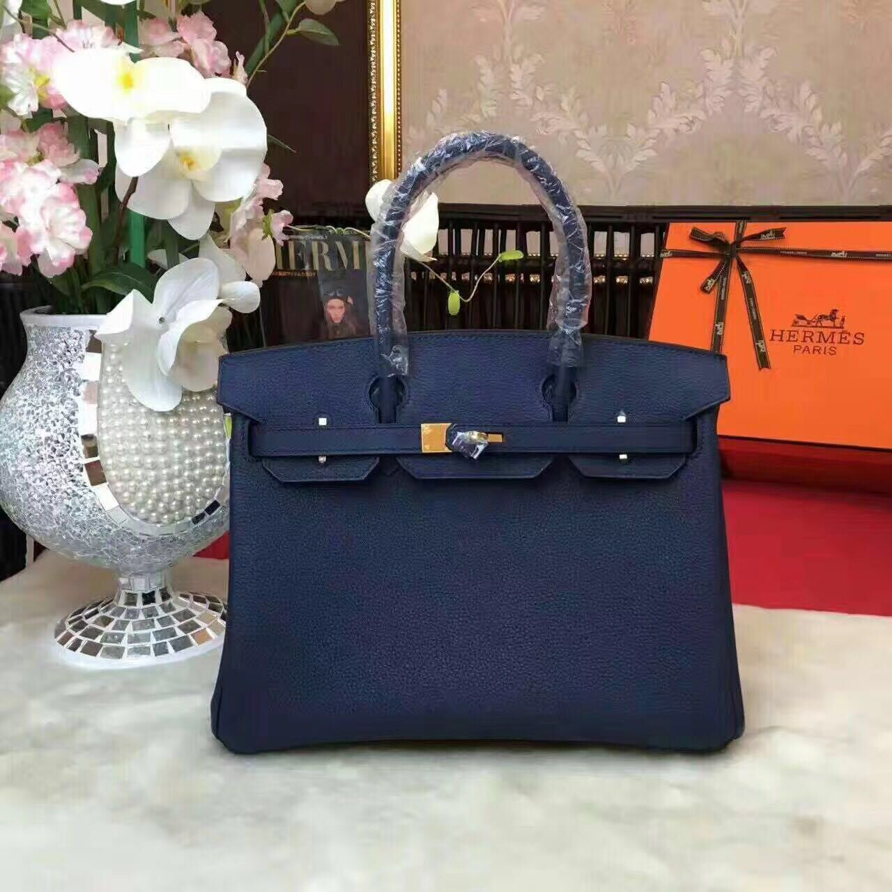 Hermes Birkin Bag Original Leather 17825 Blue